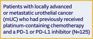 EV-201 trial design for patients with locally advanced or mUC after chemotherapy and PD-1 or PD-L1 inhibitor (N=125) received 1.25 mg/kg PADCEV via IV infusion on days 1, 8, and 15 of every 28-day cycle until disease progression or unacceptable toxicity. Primary endpoint: ORR. Secondary endpoint: DOR.